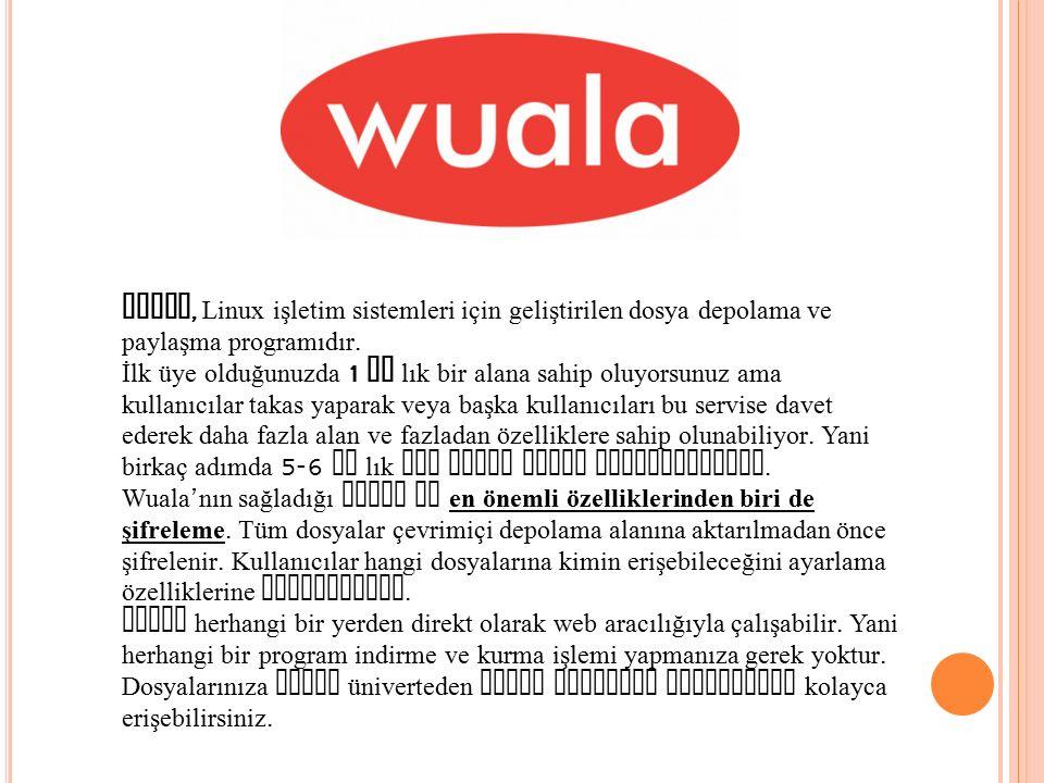 Wuala, Linux işletim sistemleri için geliştirilen dosya depolama ve paylaşma programıdır.