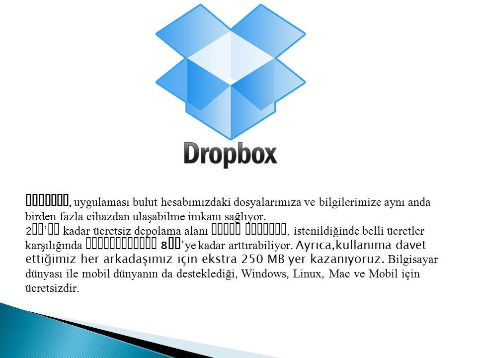 Dropbox, uygulaması bulut hesabımızdaki dosyalarımıza ve bilgilerimize aynı anda birden fazla cihazdan ulaşabilme imkanı sağlıyor.