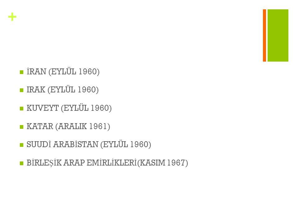 İRAN (EYLÜL 1960) IRAK (EYLÜL 1960) KUVEYT (EYLÜL 1960) KATAR (ARALIK 1961) SUUDİ ARABİSTAN (EYLÜL 1960)