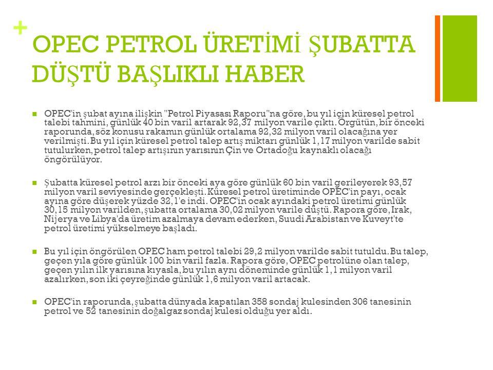 OPEC PETROL ÜRETİMİ ŞUBATTA DÜŞTÜ BAŞLIKLI HABER