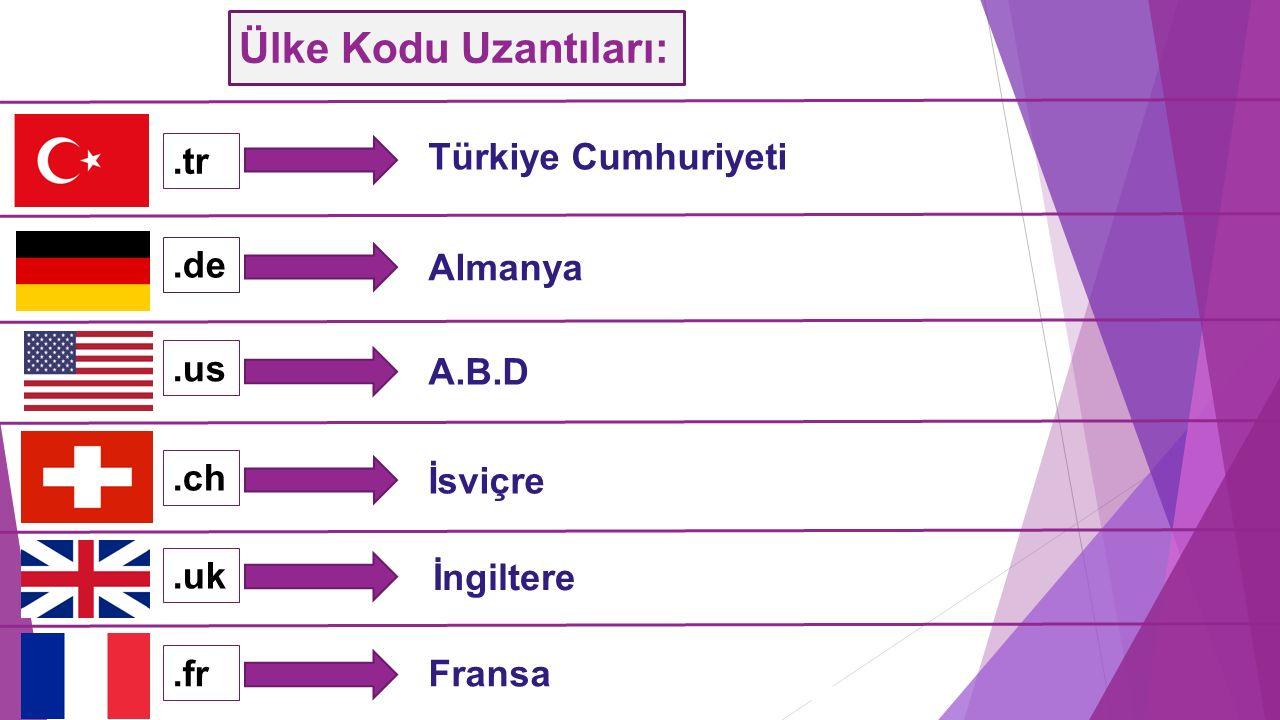 Ülke Kodu Uzantıları: .tr Türkiye Cumhuriyeti .de Almanya .us A.B.D