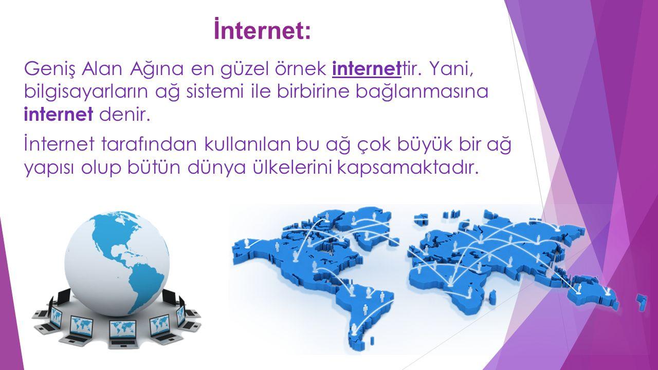 İnternet: Geniş Alan Ağına en güzel örnek internettir. Yani, bilgisayarların ağ sistemi ile birbirine bağlanmasına internet denir.