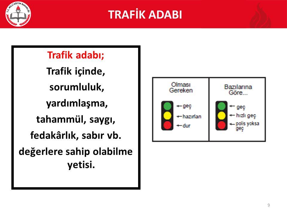 TRAFİK ADABI Trafik adabı; Trafik içinde, sorumluluk, yardımlaşma, tahammül, saygı, fedakârlık, sabır vb.