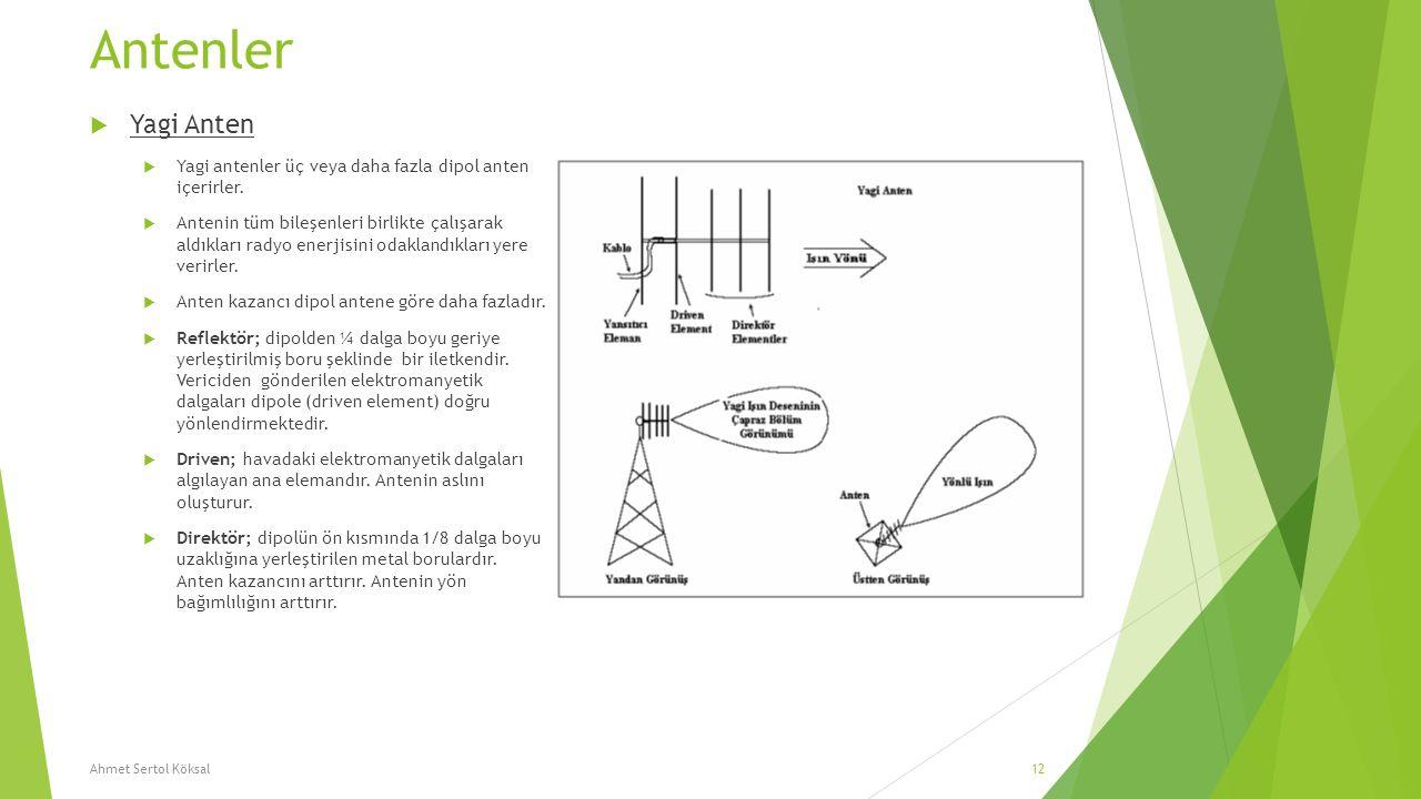Antenler Yagi Anten. Yagi antenler üç veya daha fazla dipol anten içerirler.