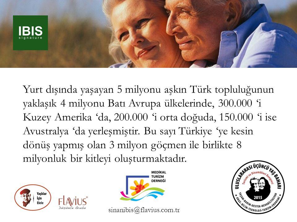 Yurt dışında yaşayan 5 milyonu aşkın Türk topluluğunun yaklaşık 4 milyonu Batı Avrupa ülkelerinde, 300.000 'i Kuzey Amerika 'da, 200.000 'i orta doğuda, 150.000 'i ise Avustralya 'da yerleşmiştir. Bu sayı Türkiye 'ye kesin dönüş yapmış olan 3 milyon göçmen ile birlikte 8 milyonluk bir kitleyi oluşturmaktadır.