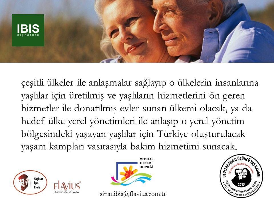 çeşitli ülkeler ile anlaşmalar sağlayıp o ülkelerin insanlarına yaşlılar için üretilmiş ve yaşlıların hizmetlerini ön geren hizmetler ile donatılmış evler sunan ülkemi olacak, ya da hedef ülke yerel yönetimleri ile anlaşıp o yerel yönetim bölgesindeki yaşayan yaşlılar için Türkiye oluşturulacak yaşam kampları vasıtasıyla bakım hizmetimi sunacak,
