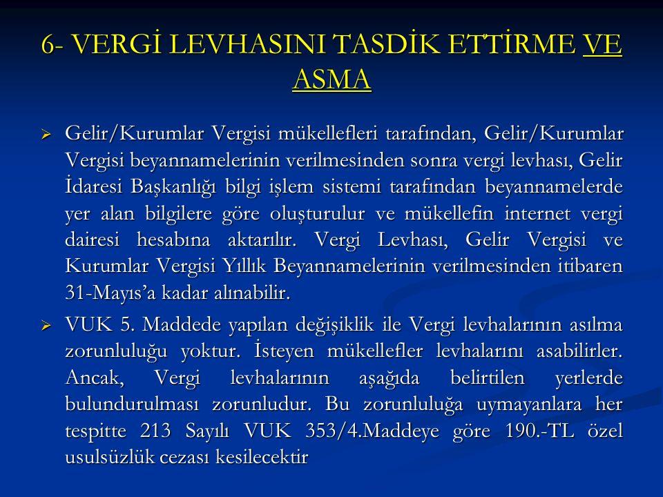 6- VERGİ LEVHASINI TASDİK ETTİRME VE ASMA