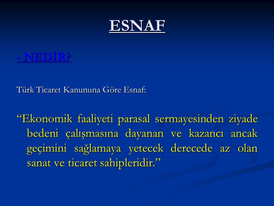 ESNAF - NEDİR Türk Ticaret Kanununa Göre Esnaf: