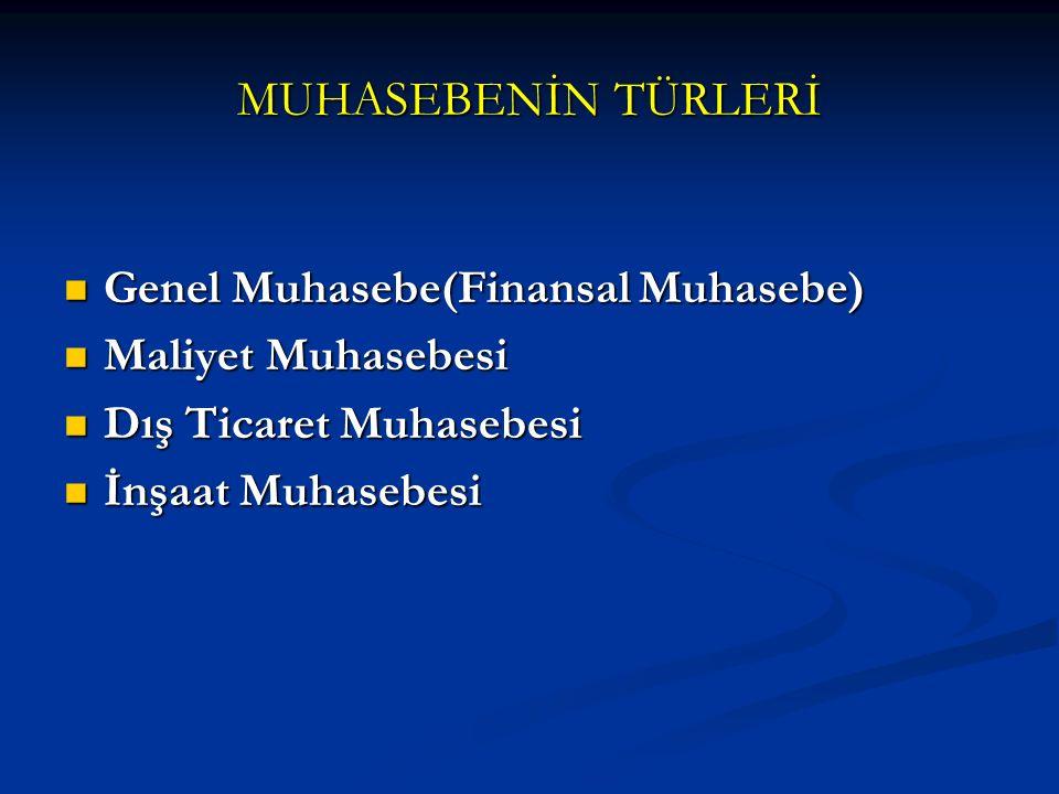 MUHASEBENİN TÜRLERİ Genel Muhasebe(Finansal Muhasebe)