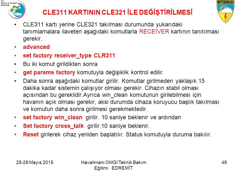 CLE311 KARTININ CLE321 İLE DEĞİŞTİRİLMESİ
