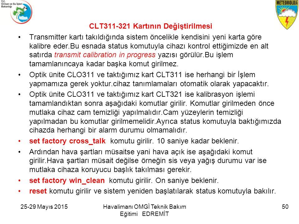 CLT311-321 Kartının Değiştirilmesi