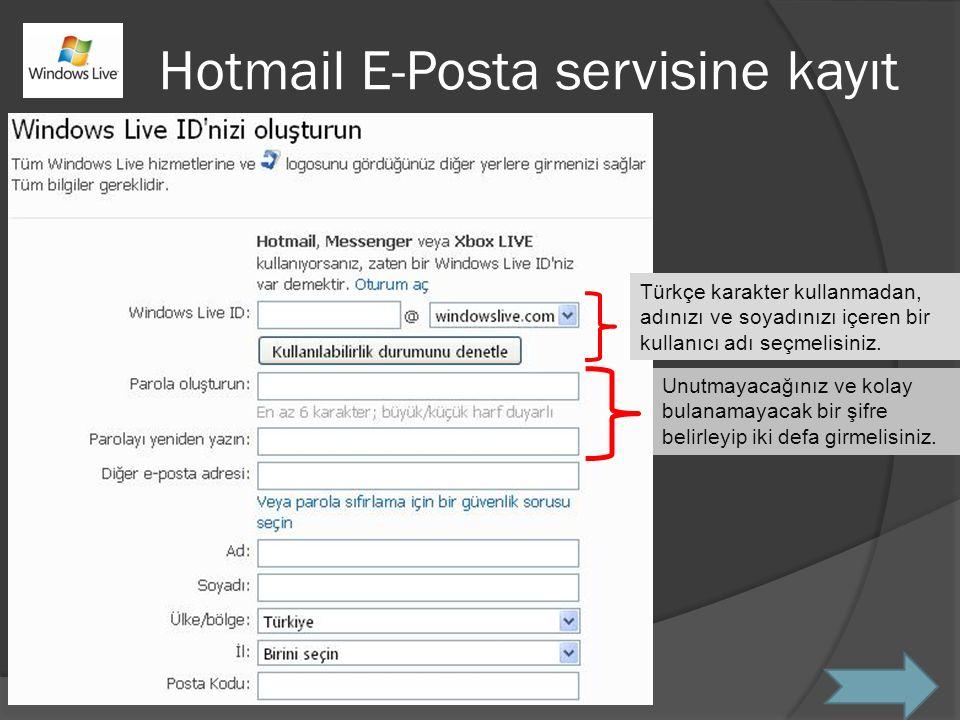 Hotmail E-Posta servisine kayıt