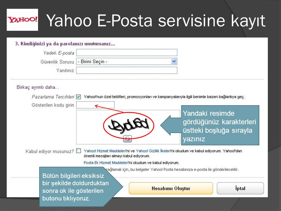 Yahoo E-Posta servisine kayıt