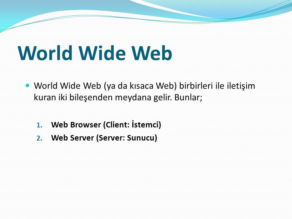 World Wide Web World Wide Web (ya da kısaca Web) birbirleri ile iletişim kuran iki bileşenden meydana gelir. Bunlar;