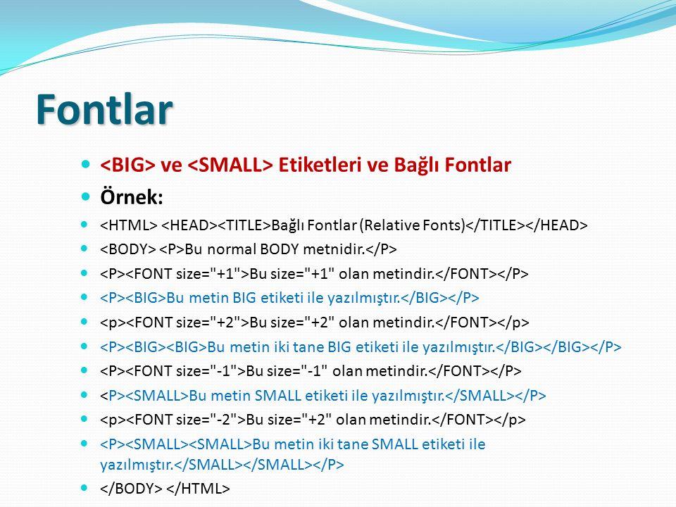 Fontlar <BIG> ve <SMALL> Etiketleri ve Bağlı Fontlar