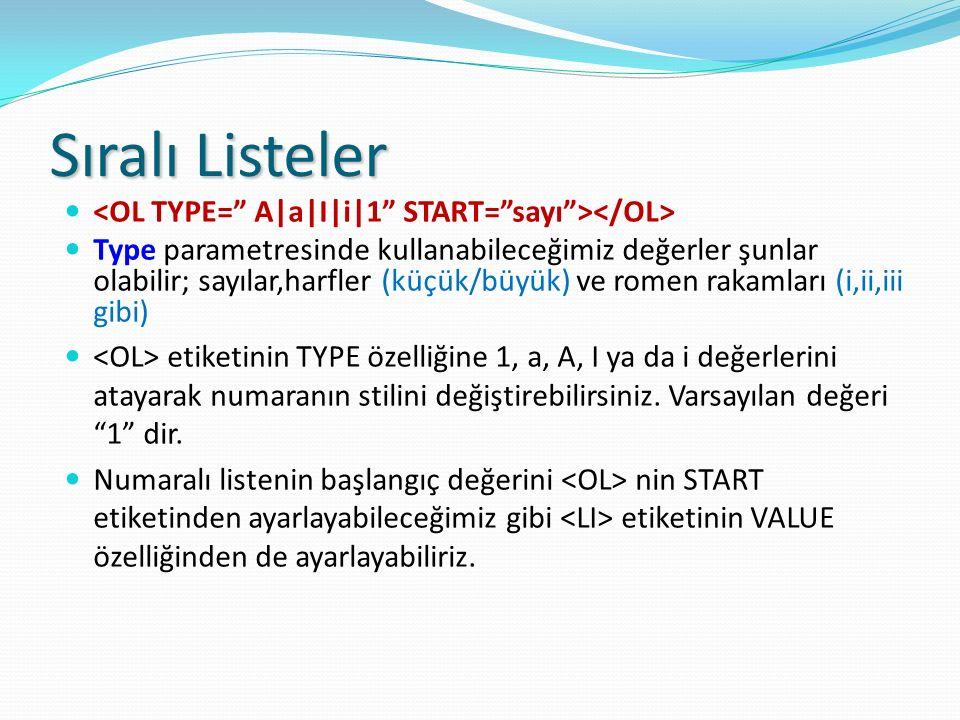 Sıralı Listeler <OL TYPE= A|a|I|i|1 START= sayı ></OL>