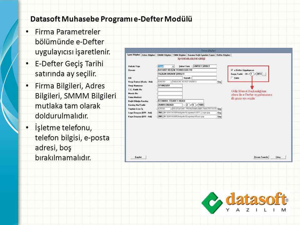 Datasoft Muhasebe Programı e-Defter Modülü