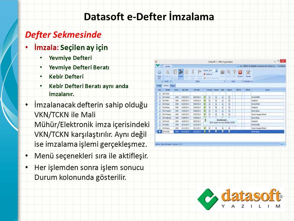 Datasoft e-Defter İmzalama
