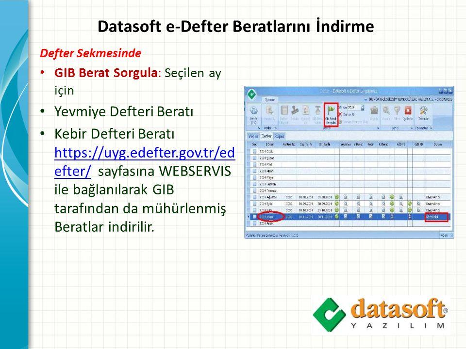 Datasoft e-Defter Beratlarını İndirme