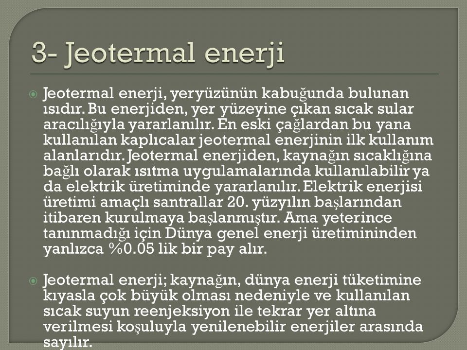 3- Jeotermal enerji