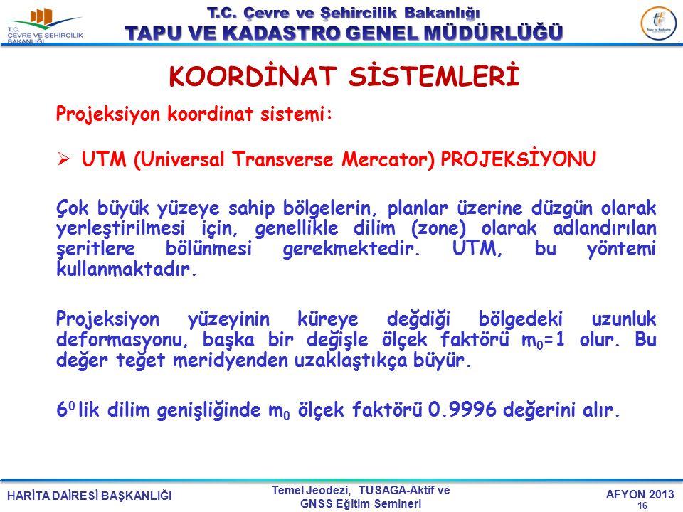 KOORDİNAT SİSTEMLERİ Projeksiyon koordinat sistemi:
