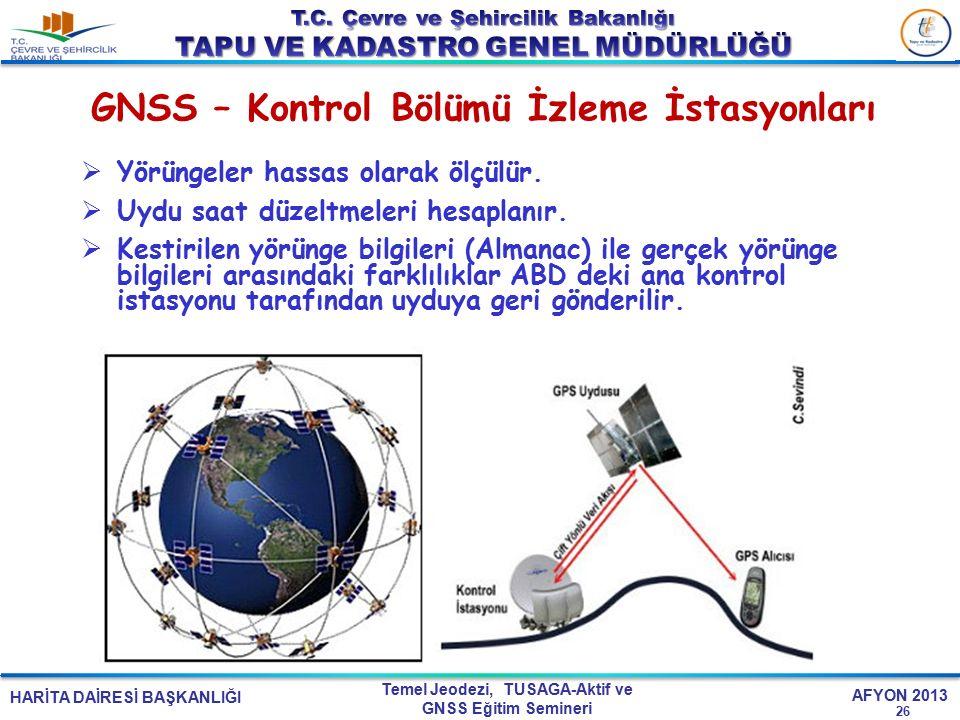 GNSS – Kontrol Bölümü İzleme İstasyonları