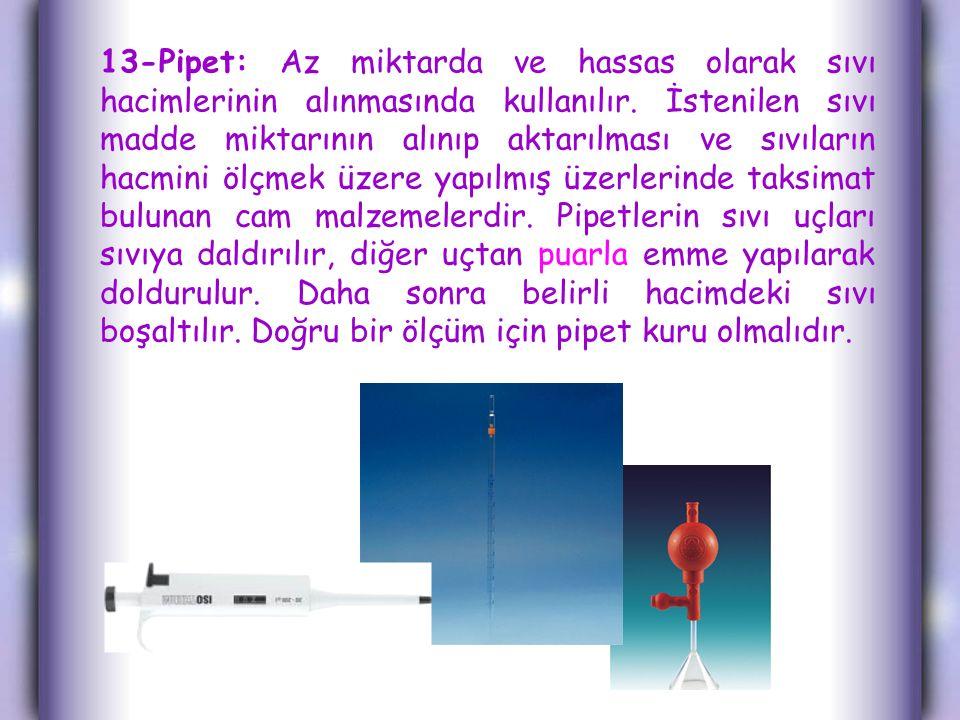 13-Pipet: Az miktarda ve hassas olarak sıvı hacimlerinin alınmasında kullanılır.