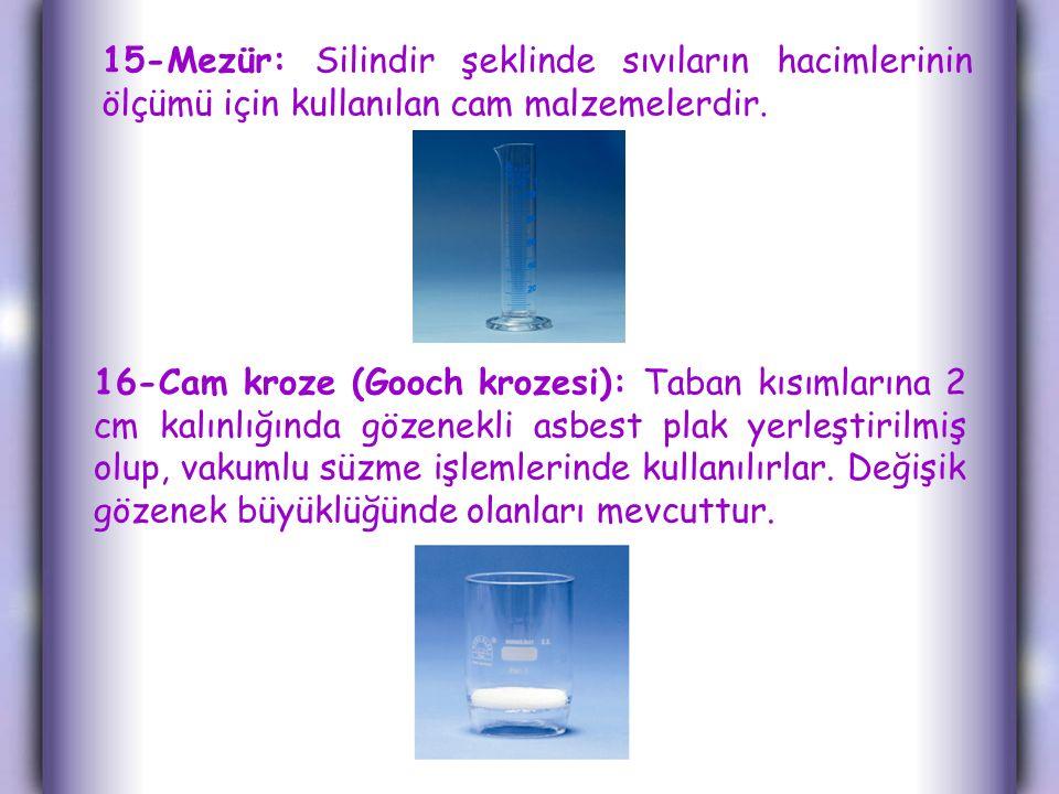 15-Mezür: Silindir şeklinde sıvıların hacimlerinin ölçümü için kullanılan cam malzemelerdir.