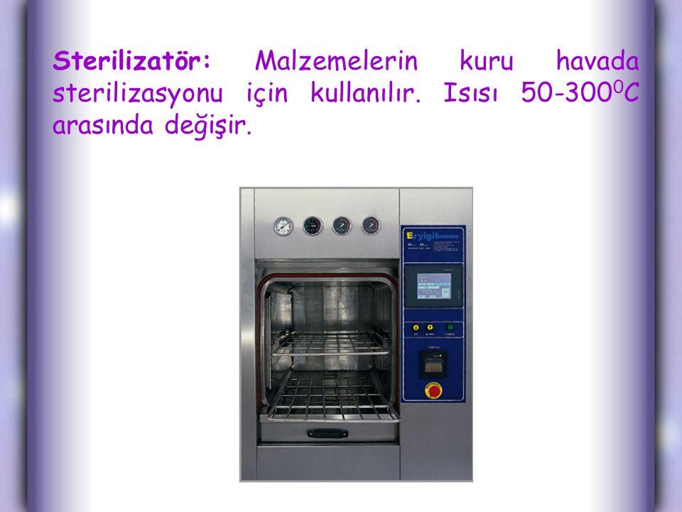 Sterilizatör: Malzemelerin kuru havada sterilizasyonu için kullanılır