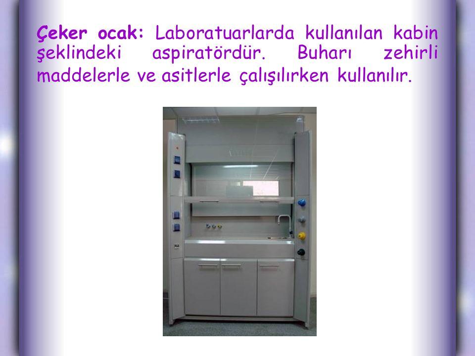 Çeker ocak: Laboratuarlarda kullanılan kabin şeklindeki aspiratördür