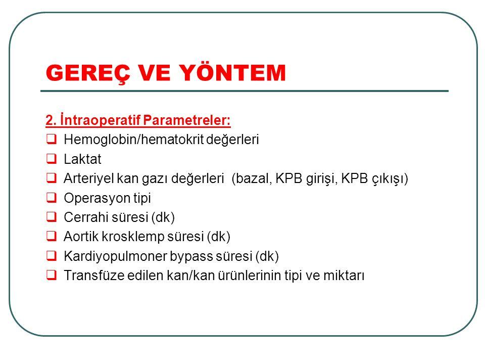 GEREÇ VE YÖNTEM 2. İntraoperatif Parametreler:
