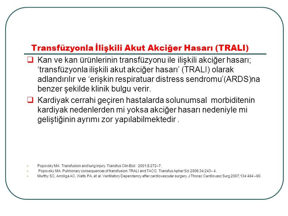 Transfüzyonla İlişkili Akut Akciğer Hasarı (TRALI)