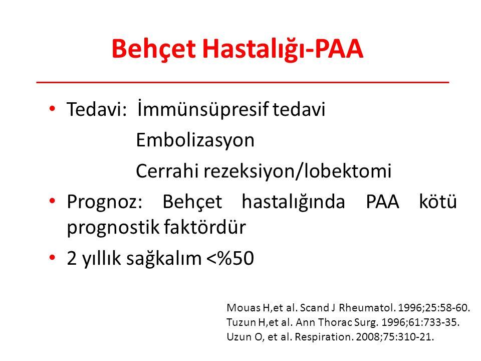 Behçet Hastalığı-PAA Tedavi: İmmünsüpresif tedavi Embolizasyon