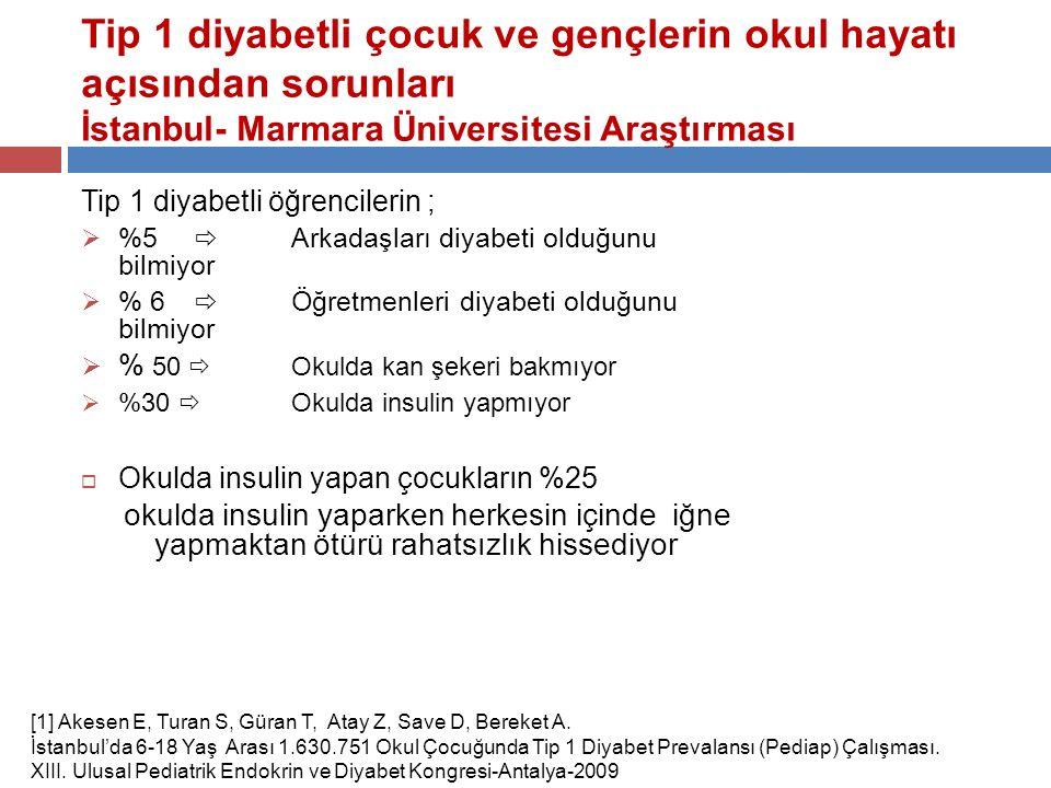 Tip 1 diyabetli çocuk ve gençlerin okul hayatı açısından sorunları İstanbul- Marmara Üniversitesi Araştırması