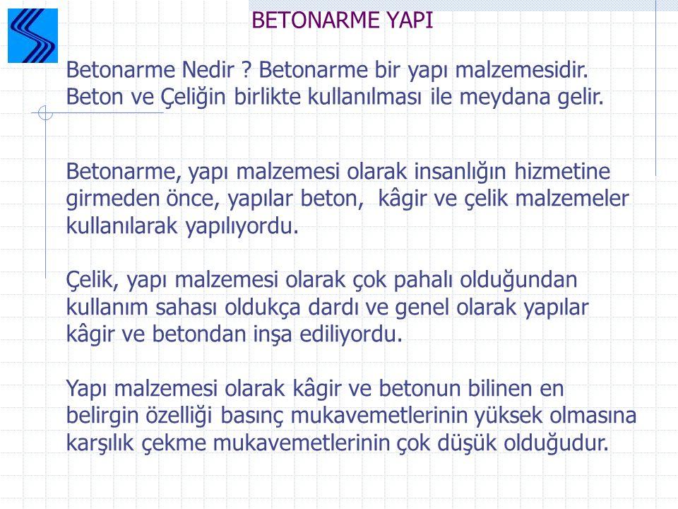 BETONARME YAPI Betonarme Nedir Betonarme bir yapı malzemesidir. Beton ve Çeliğin birlikte kullanılması ile meydana gelir.