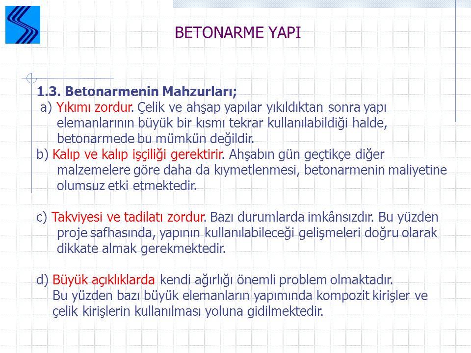 BETONARME YAPI 1.3. Betonarmenin Mahzurları;
