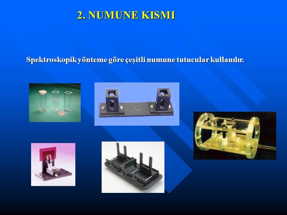 2. NUMUNE KISMI Spektroskopik yönteme göre çeşitli numune tutucular kullanılır.