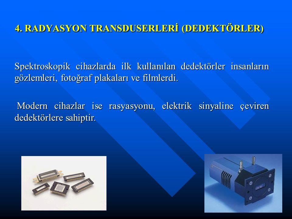4. RADYASYON TRANSDUSERLERİ (DEDEKTÖRLER)