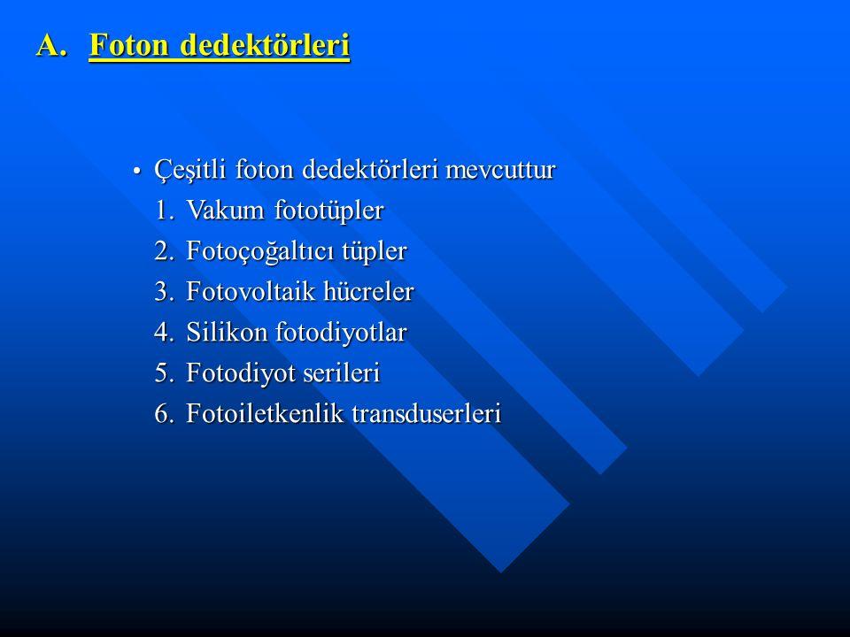 A. Foton dedektörleri 1. Vakum fototüpler 2. Fotoçoğaltıcı tüpler