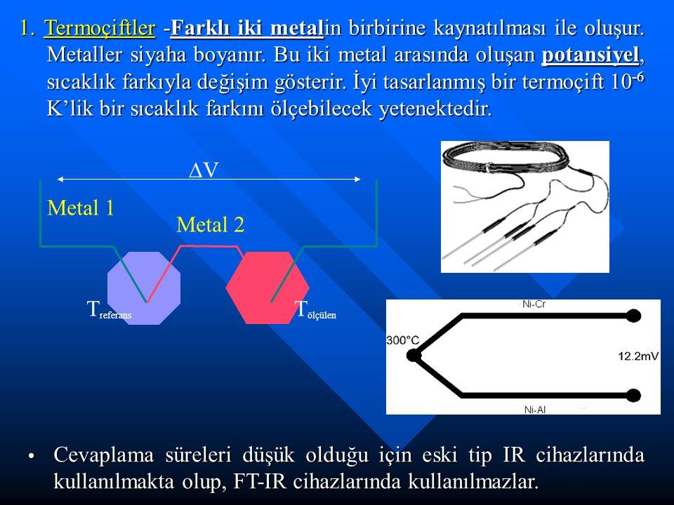 1. Termoçiftler -Farklı iki metalin birbirine kaynatılması ile oluşur