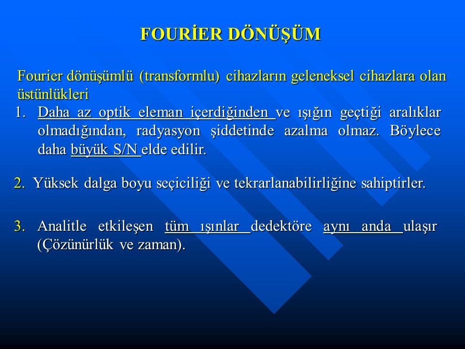FOURİER DÖNÜŞÜM Fourier dönüşümlü (transformlu) cihazların geleneksel cihazlara olan üstünlükleri.