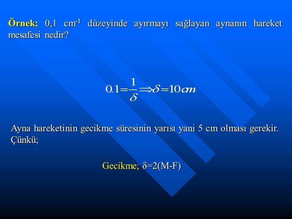 Örnek; 0,1 cm-1 düzeyinde ayırmayı sağlayan aynanın hareket mesafesi nedir