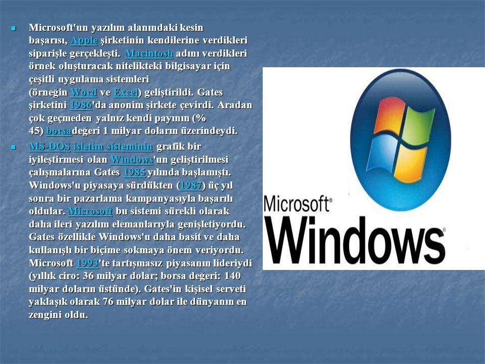 Microsoft un yazılım alanındaki kesin başarısı, Apple şirketinin kendilerine verdikleri siparişle gerçekleşti. Macintosh adını verdikleri örnek oluşturacak nitelikteki bilgisayar için çeşitli uygulama sistemleri (örneğin Word ve Excel) geliştirildi. Gates şirketini 1986 da anonim şirkete çevirdi. Aradan çok geçmeden yalnız kendi payının (% 45) borsadeğeri 1 milyar doların üzerindeydi.