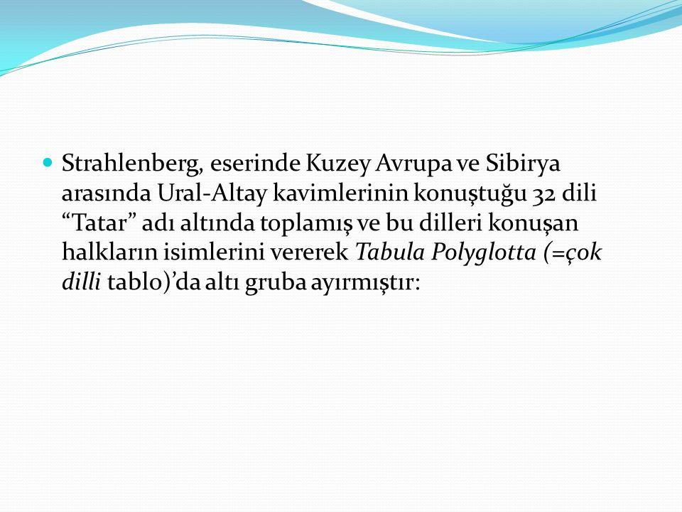 Strahlenberg, eserinde Kuzey Avrupa ve Sibirya arasında Ural-Altay kavimlerinin konuştuğu 32 dili Tatar adı altında toplamış ve bu dilleri konuşan halkların isimlerini vererek Tabula Polyglotta (=çok dilli tablo)'da altı gruba ayırmıştır: