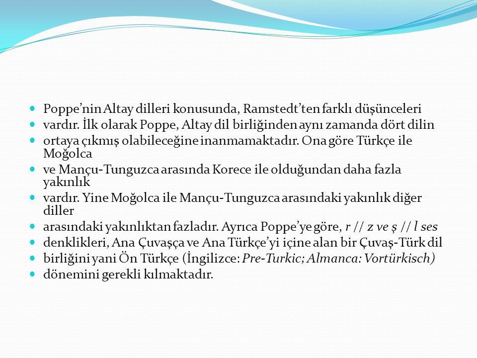 Poppe'nin Altay dilleri konusunda, Ramstedt'ten farklı düşünceleri