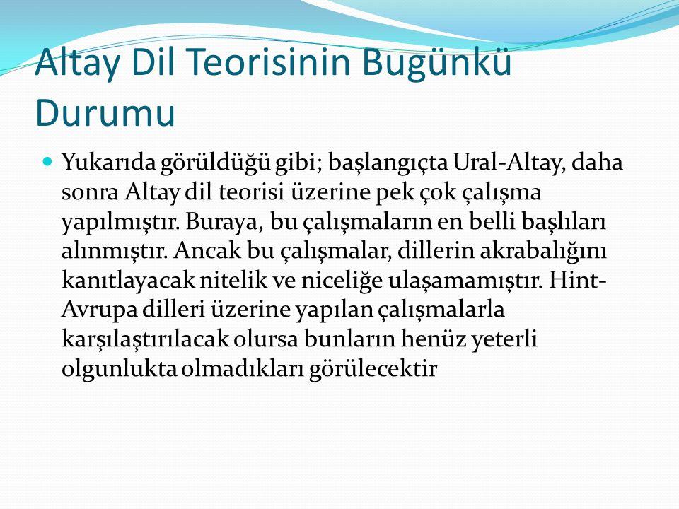 Altay Dil Teorisinin Bugünkü Durumu