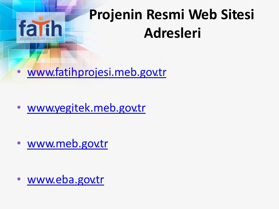 Projenin Resmi Web Sitesi Adresleri