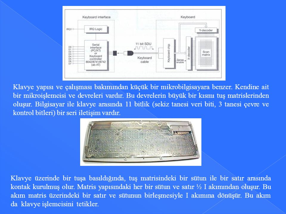 Klavye yapısı ve çalışması bakımından küçük bir mikrobilgisayara benzer. Kendine ait bir mikroişlemcisi ve devreleri vardır. Bu devrelerin büyük bir kısmı tuş matrislerinden oluşur. Bilgisayar ile klavye arasında 11 bitlik (sekiz tanesi veri biti, 3 tanesi çevre ve kontrol bitleri) bir seri iletişim vardır.