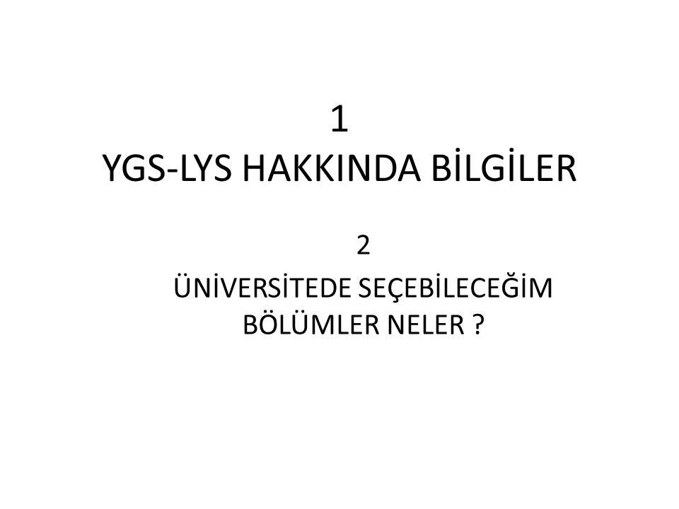 1 YGS-LYS HAKKINDA BİLGİLER