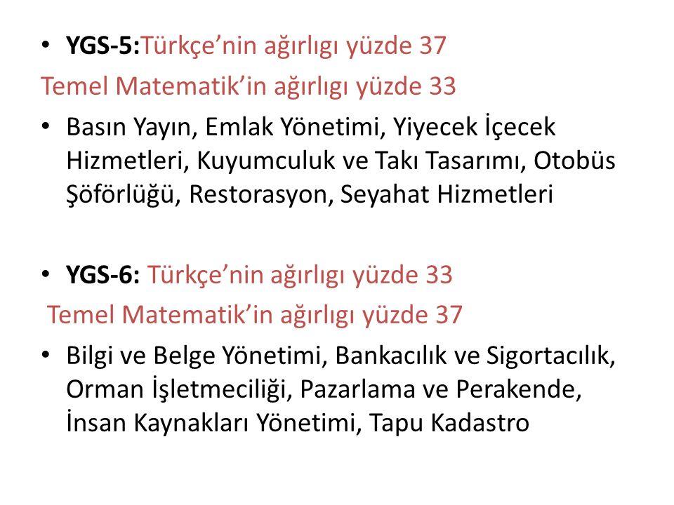 YGS-5:Türkçe'nin ağırlıgı yüzde 37